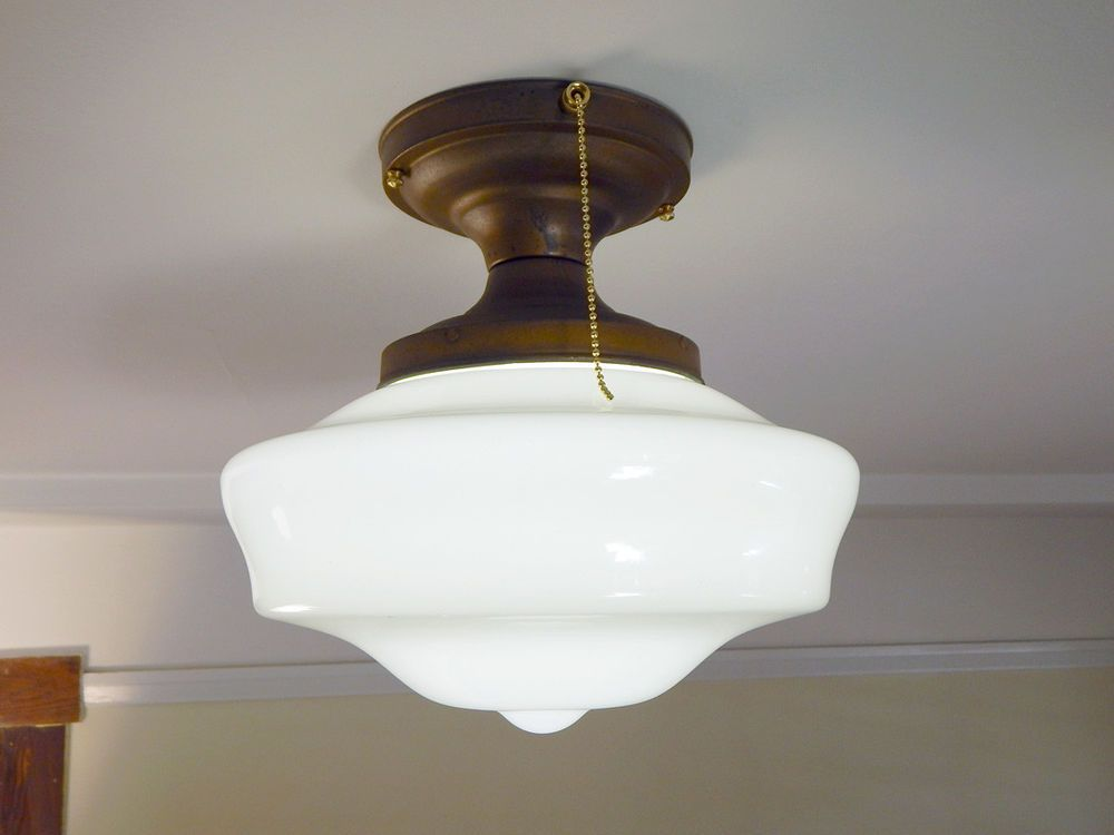 Vintage Schoolhouse Ceiling Light Fixture With Pull Chain For
