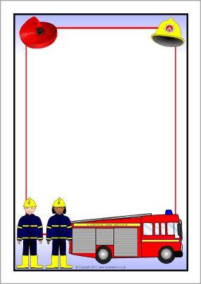 Fire Service A4 Page Borders Sb8927 Sparklebox Page
