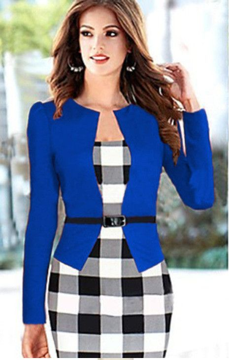 Elegant Business Suits 3 4 Sleeve Knee Length Pencil Dress S 4xl