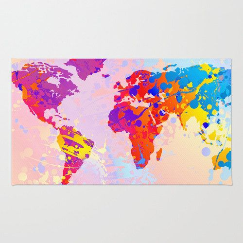 World Map Floor Rug World Map Home Decor Girls Room By Hhprint - Small world map poster