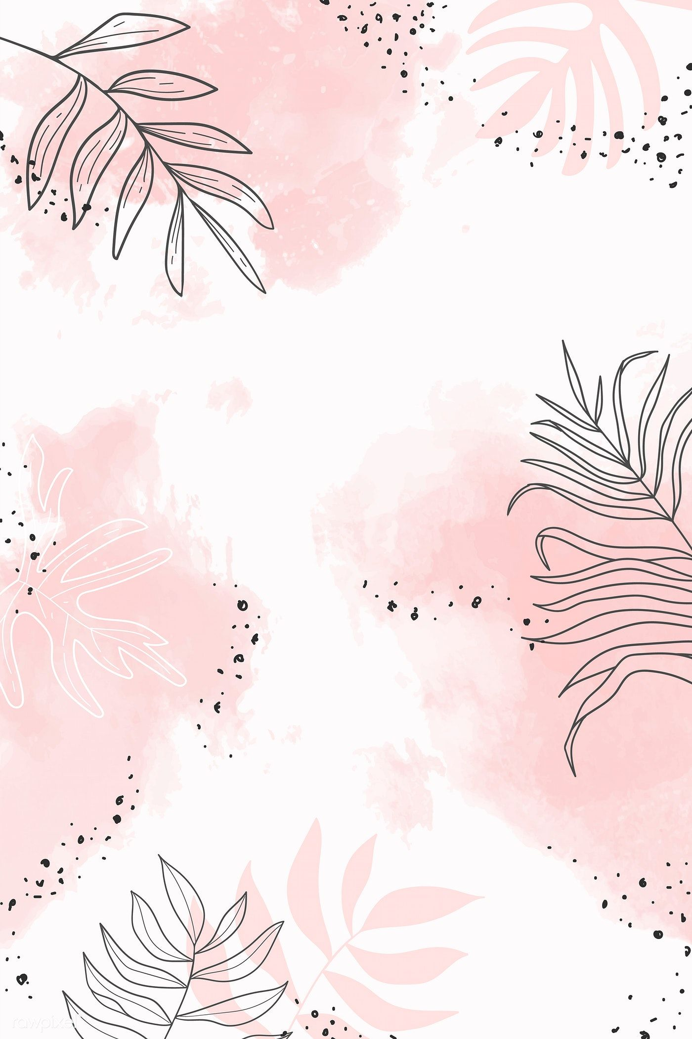 Pink Leafy Watercolor Background Vector Premium Image By Rawpixel Com Aum Phone Wallpaper Pink Watercolor Wallpaper Phone Phone Wallpaper Images