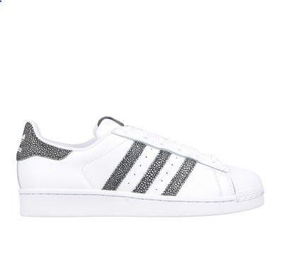 Baskets blanches cuir Superstar Adidas Originals détail tacheté prix promo Baskets Femme Monshowroom 90.00 €