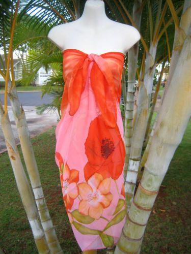 Sheer Sarong Orange Pink Poppies Beach Cover Up Hawaii Cruise Wrap Skirt Dress   eBay