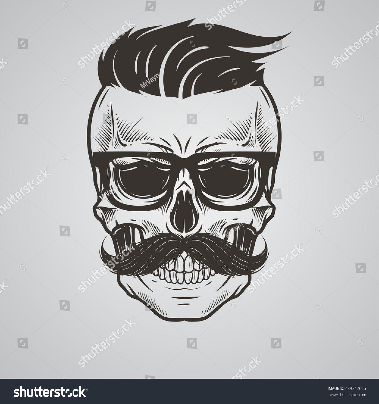 Bearded Skull Illustration Schedel Ontwerp Tatoeage Studio