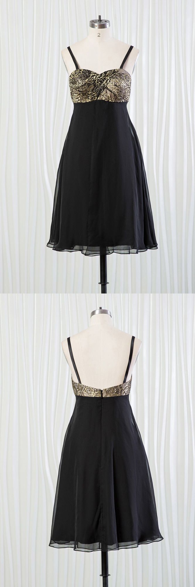 Short black bridesmaid dress with shiny leopard lace top fn