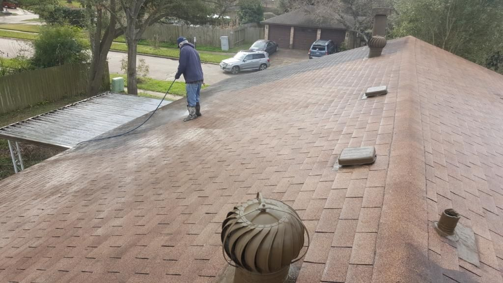 Roof Washing in Houston, TX using Shingle Shield Roof and