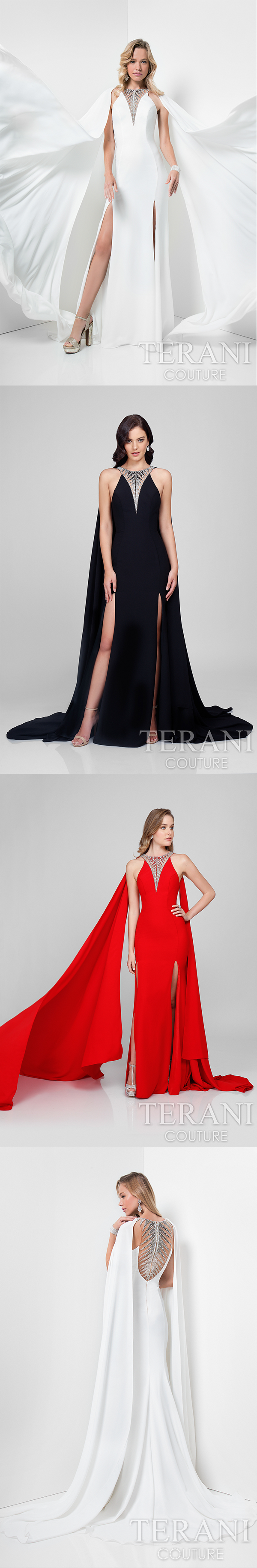 Alluring caped designer dress in crepe back satin featuring ombré
