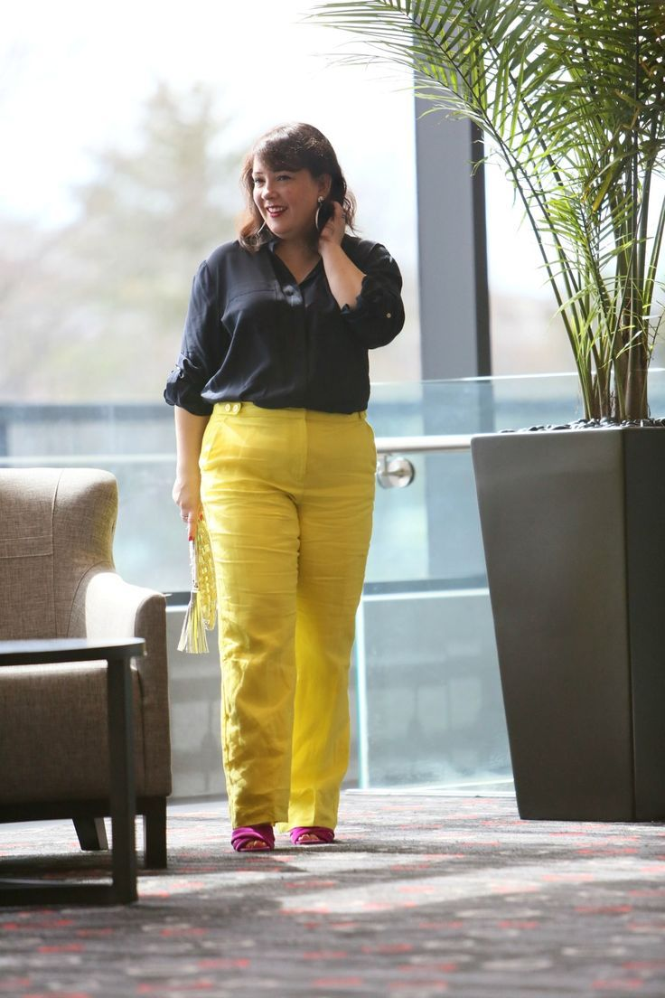 7f75afb8db Wardrobe Oxygen in yellow linen pants from Talbots with a navy silk blouse  and silver Monserat De Lucca woven clutch