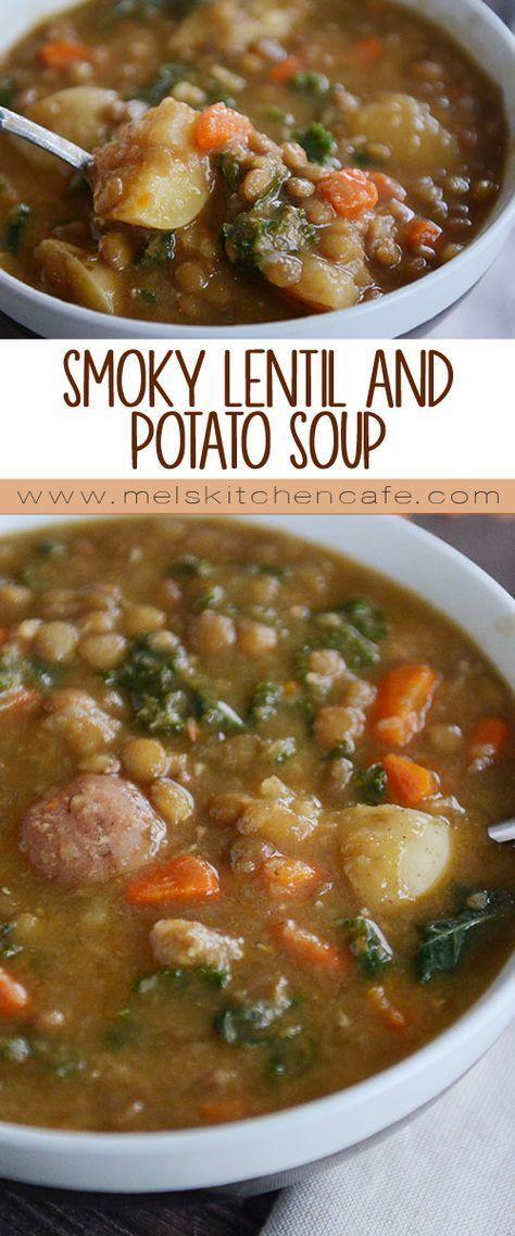 Pressure Cooker Smoky Lentil and Potato Soup #potatosoup