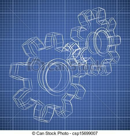 3D gear wheel sketch drawing on blueprint background - csp15699007 - copy blueprint paper free