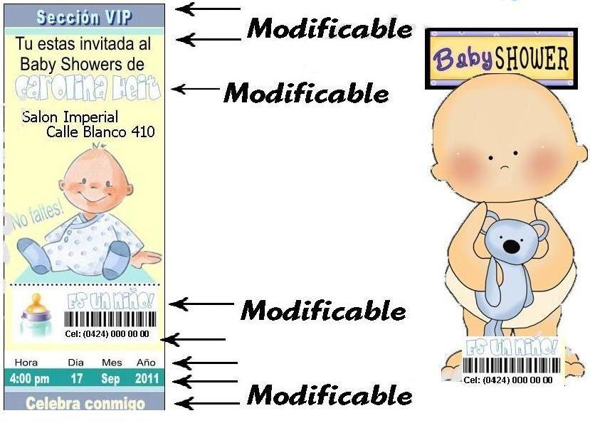 Kits 20 Invitaciones Modificables Baby Shower Niño Baby