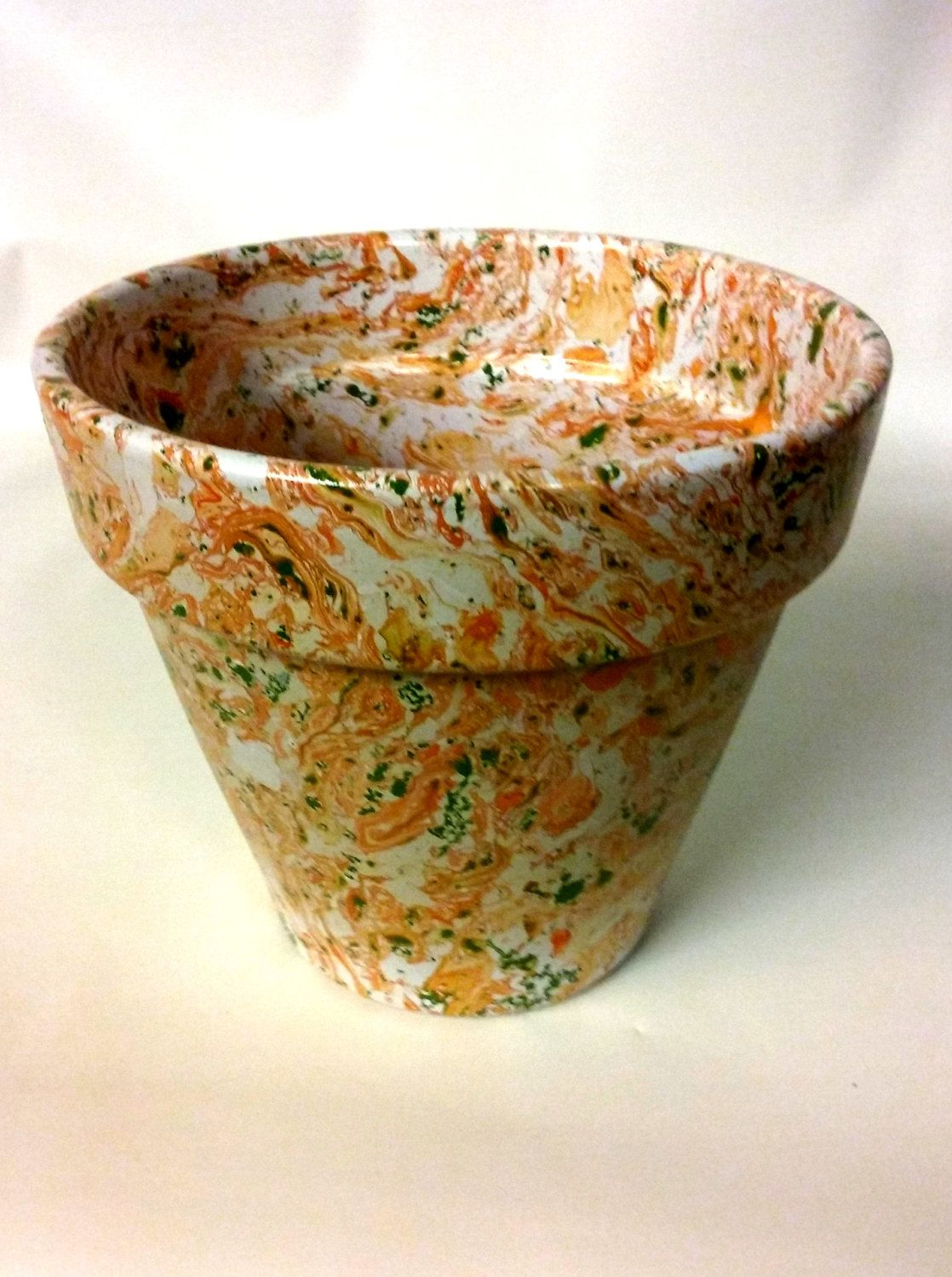 Decorative Abstract Terracotta Planter Pot Hand Painted Swirl Hydro ...