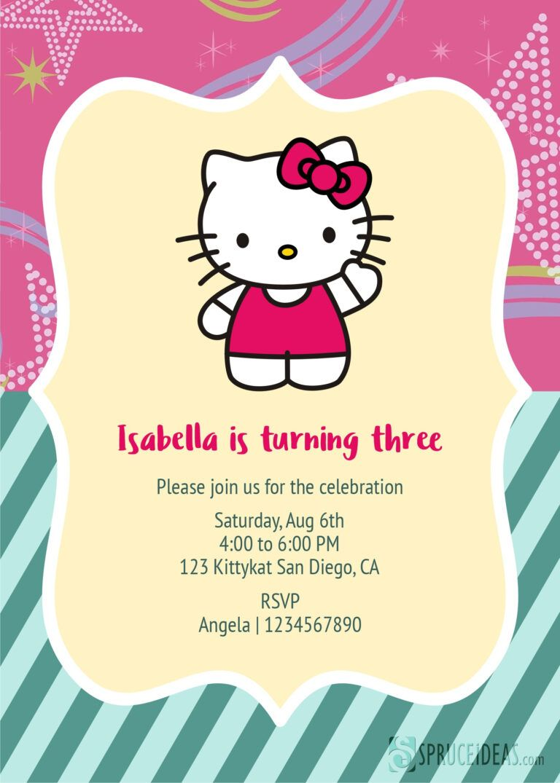 Free Printable Hello Kitty Birthday Invitation Card Template Pertaining T Hello Kitty Invitations Birthday Invitation Card Template Birthday Card Template Free