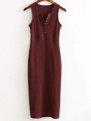 Side Slit Ribbed Dress - Wine Red One Size