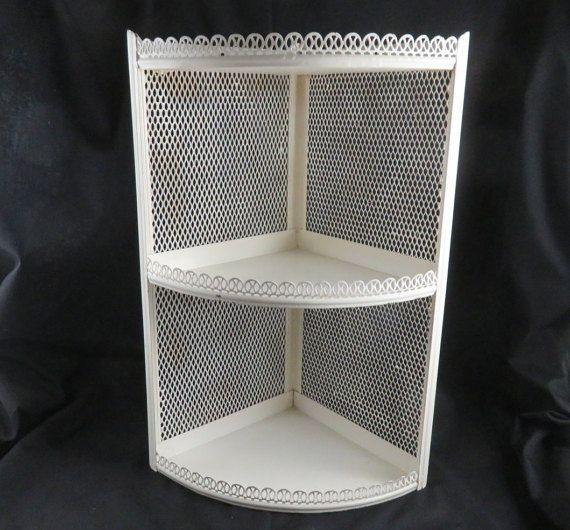 Mid Century Metal Corner Cabinet Off White 3 Tier