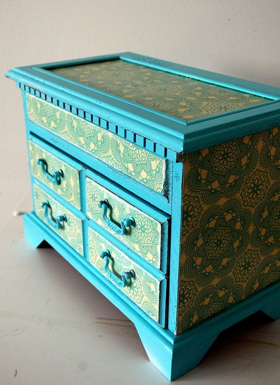 Blue and Birds Upcycled Vintage Jewelry Box Box Upcycled vintage