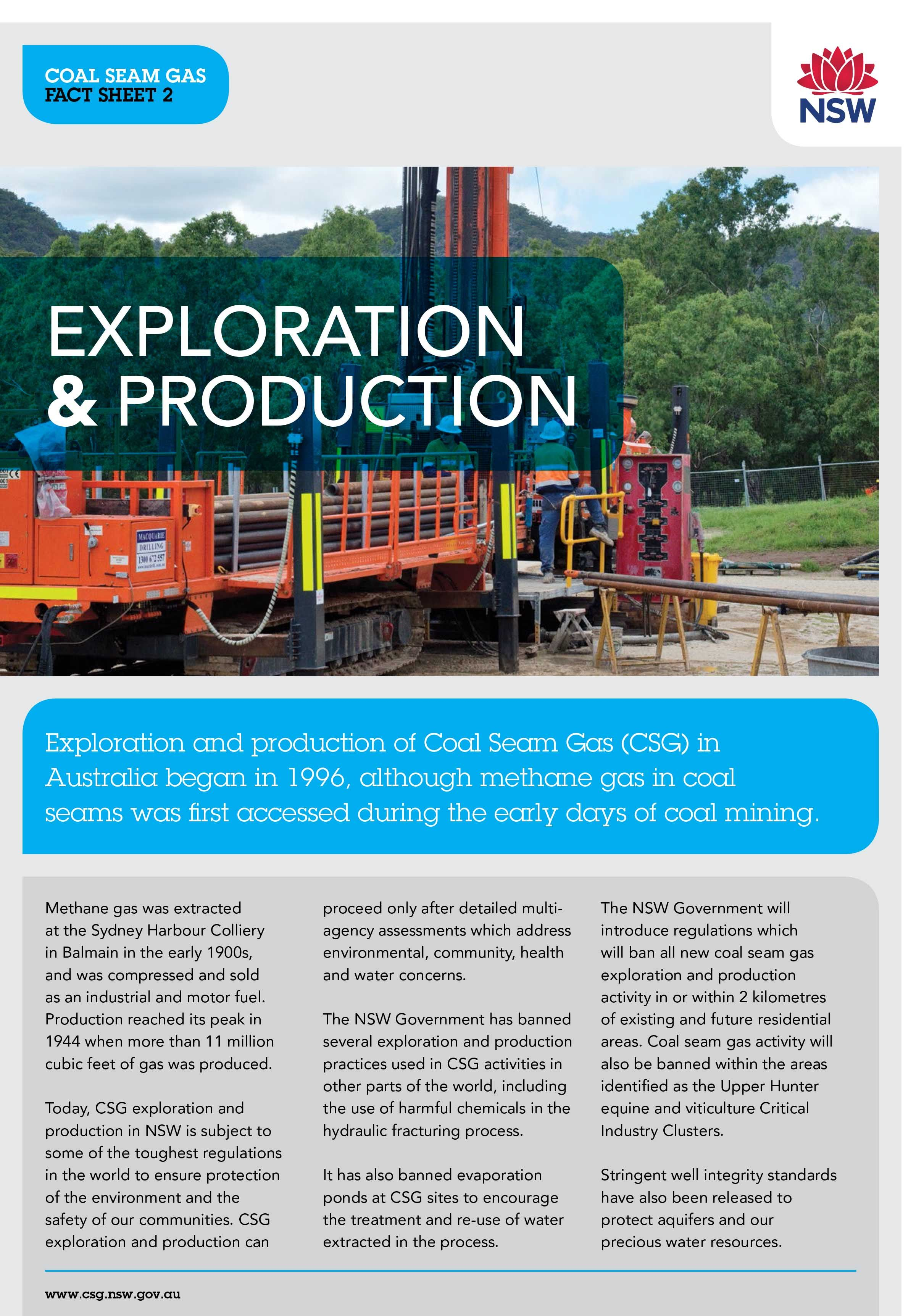 Coal Seam Gas (CSG) exploration and production in NSW is