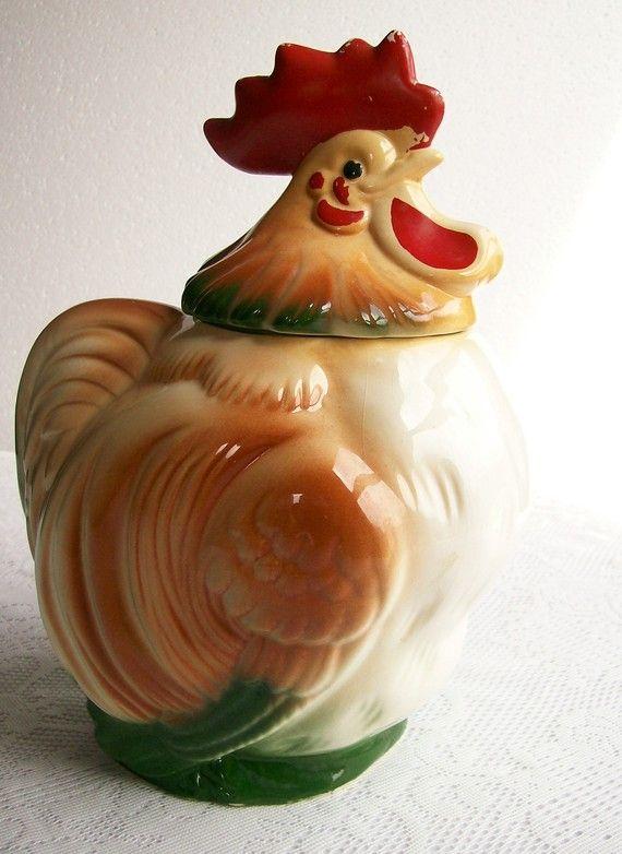 Vintage Cookie Jar Rooster Sierra Vista Pottery 1950s