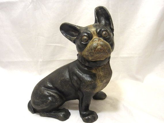 antique HUBLEY Cast Iron sitting French BULLDOG Dog DOORSTOP Boston Terrier - Antique HUBLEY Cast Iron Sitting French BULLDOG Dog DOORSTOP