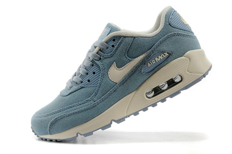 KQ-129372 Womens Nike Air Max 90 Denim Shoes Jade White