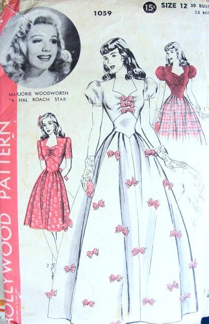 1940s BEAUTIFUL EVENING DRESS PATTERN 2 LENGTHS. FITTED GIRDLE ...