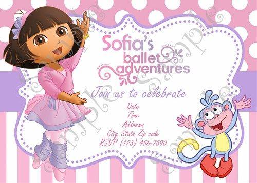 Dora The Explorer Ballerina Invitation Free Thank You Card Dora