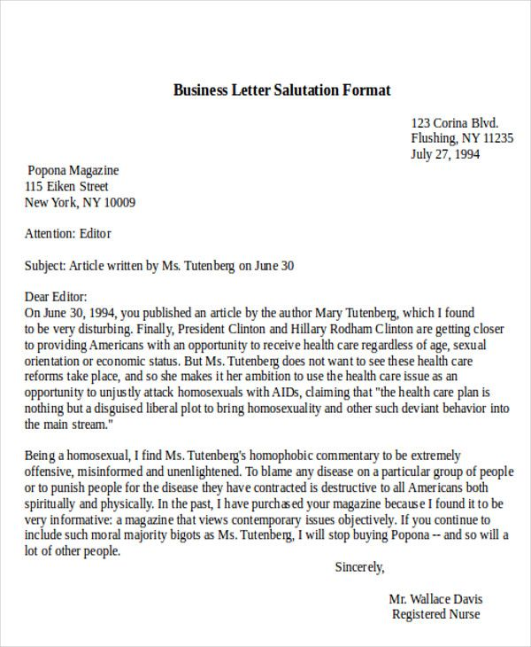 Sample Business Letter Salutation Examples Word Pdf  Home Design