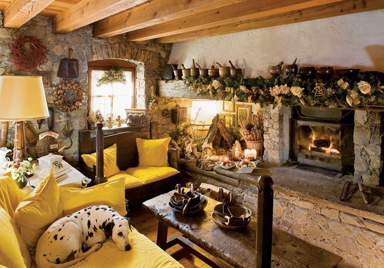 Stein Scheunen, Große Räume, Chalet Art, Alpen, Innendekoration