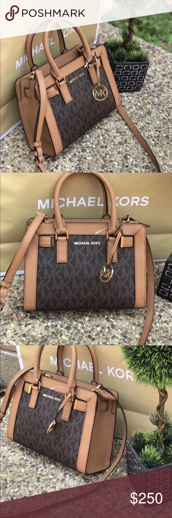 588b3b21e5b5 Michael kors dillon monogrammed satchel bag brown MICHAEL Michael Kors - MK  Dillon Monogram Small Satchel