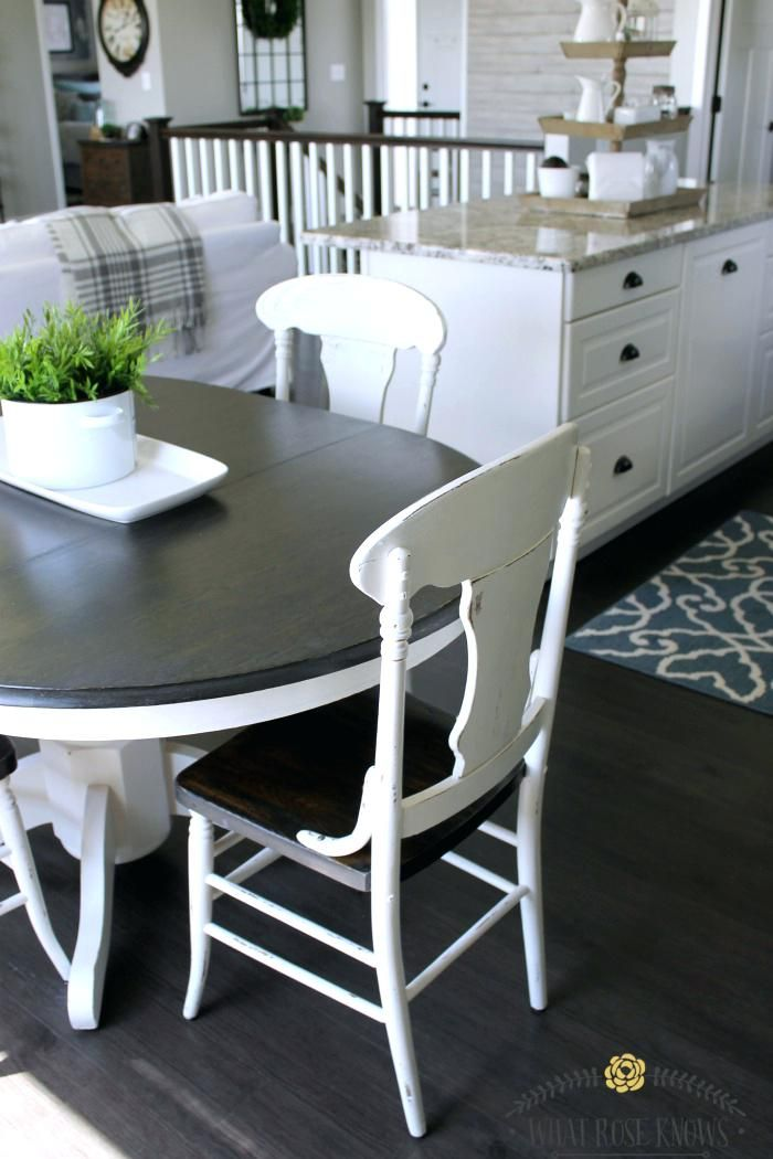 Dining Table Painting Wood Black Farmhouse Style Painted Kitchen Chairs Makeover Room Paint White