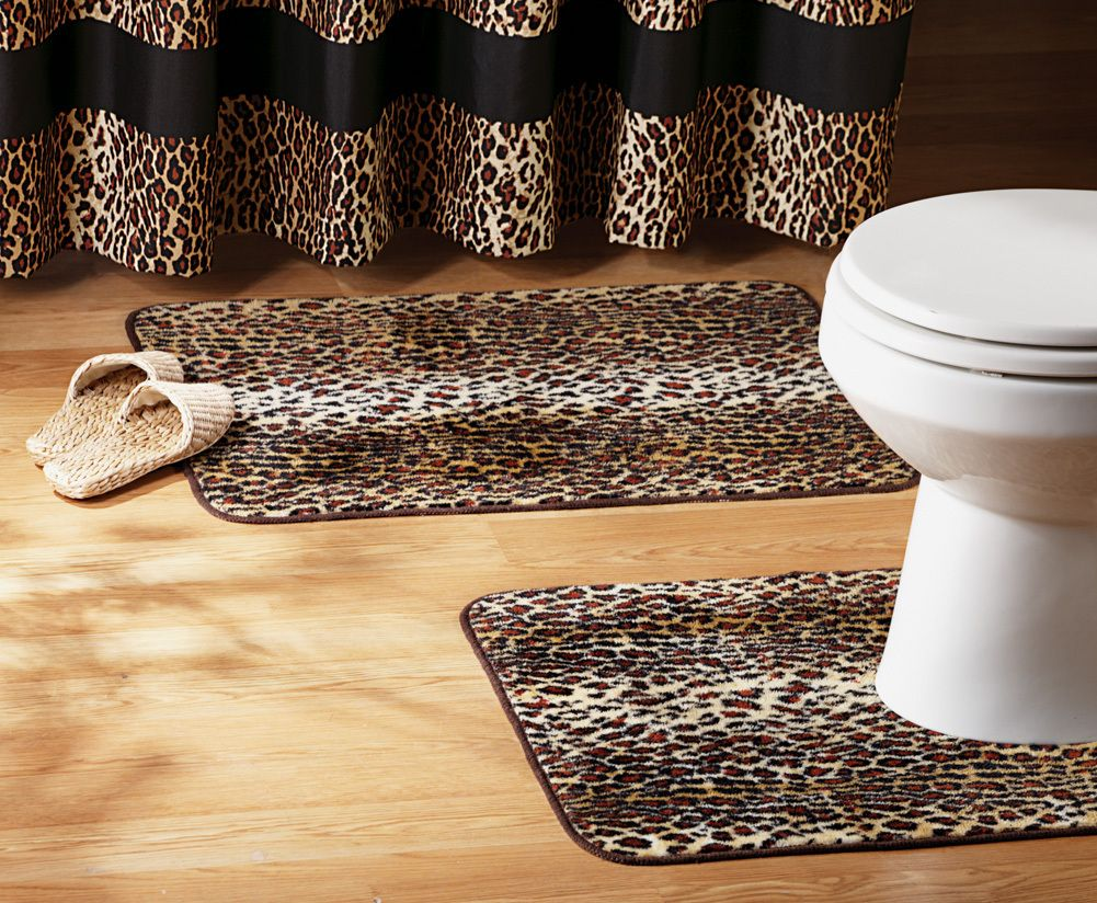 Gentil 2 Pc Leopard Print Bathroom Rug Set Acrylic Home Decor NEW I6310