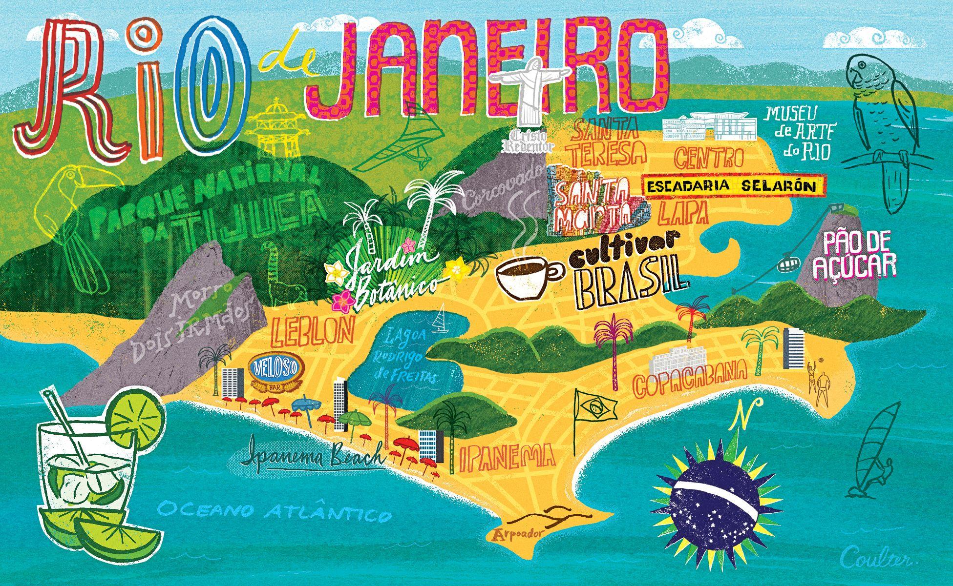 John Coulter Map Of Rio De Janeiro Voyage Bresil Bon Voyage