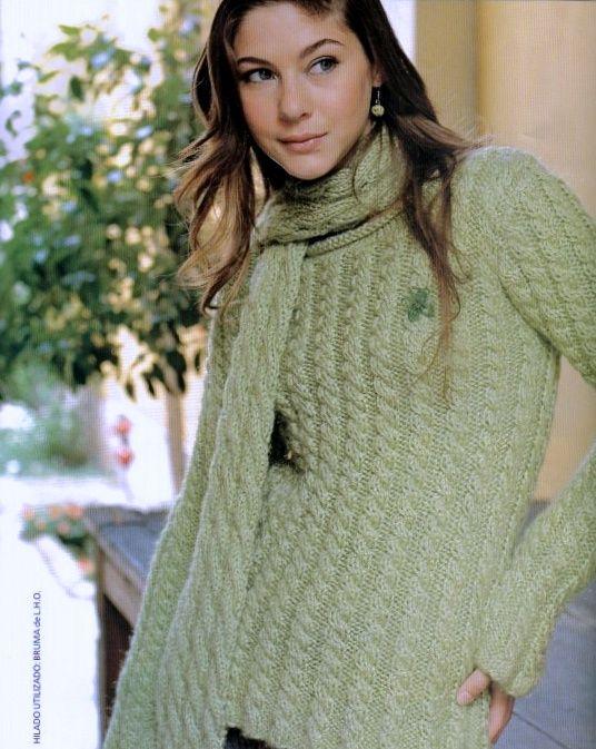 patrones asgaya: JERSEY Y BUFANDA DE TRENZAS A DOS AGUJAS | sweaters ...
