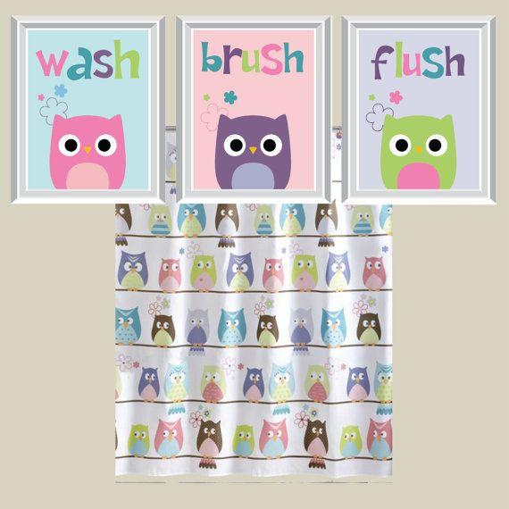 Owl Bathroom Art Print Owl Bath Art Owl Bath Decor Child Bathroom Art Child Bath Decor You Pick The Size Colors Ns 133