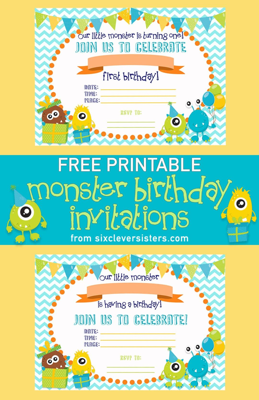 free printable monster birthday invitations the best of six