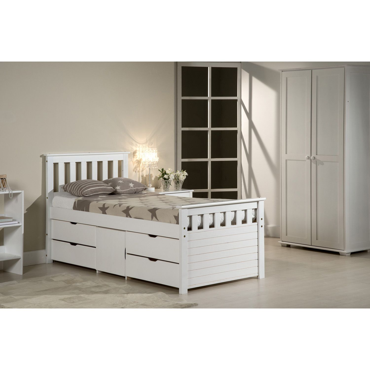 Long Single Bed Ferrara Long Single Whitewash Captains Storage Bed Next Day
