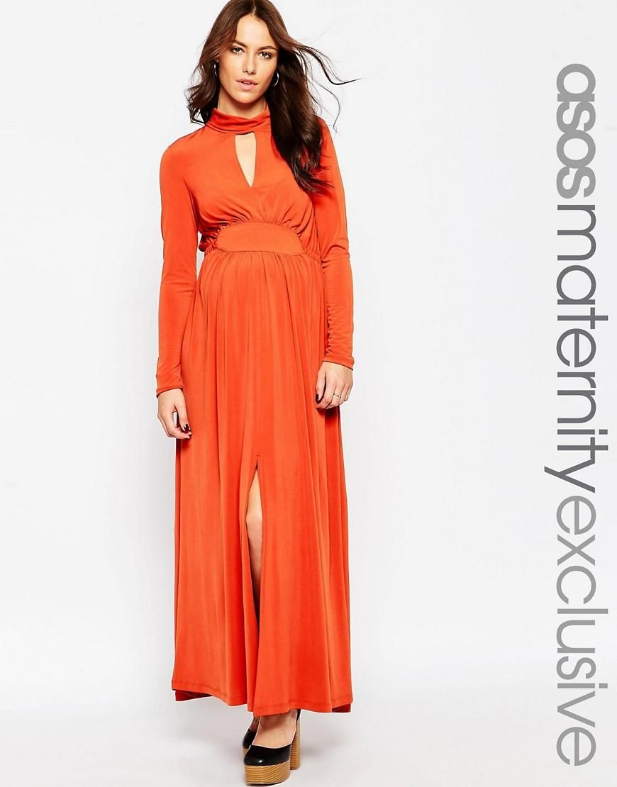 3c5c3eb437ed Maternity Maxi Dress With High Neck and Split Thigh