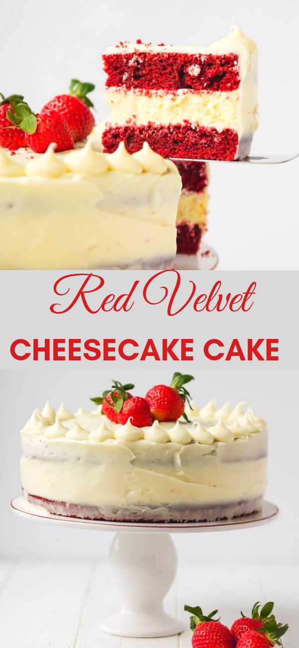 RED VELVET CHEESECAKE CAKE #redvelvetcheesecake Red Velvet Cheesecake Cake Recipe – beautiful, fun to make and delicious! Perfect for any celebration. Two layers of moist red velvet cake with luscious cheesecake layer in between. #dessert #cake #cheesecake #redvelvetcheesecake