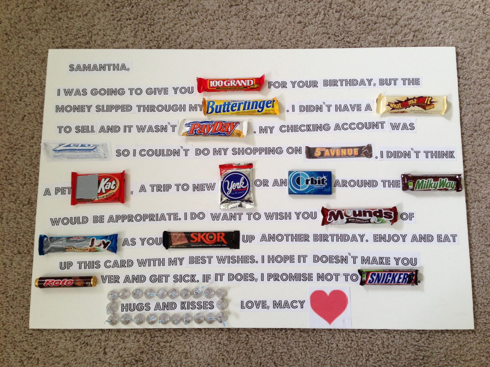 Candy Bar Poem - Birthday | birthday ideas | Pinterest ...