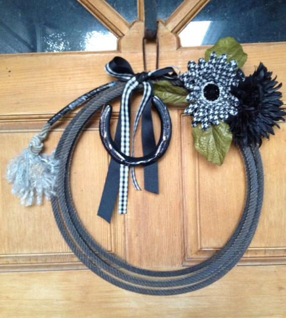Diy Rope Craft Projects To Do At Home: Western Decor Lariat Roping Rope Wreath Home Or Country