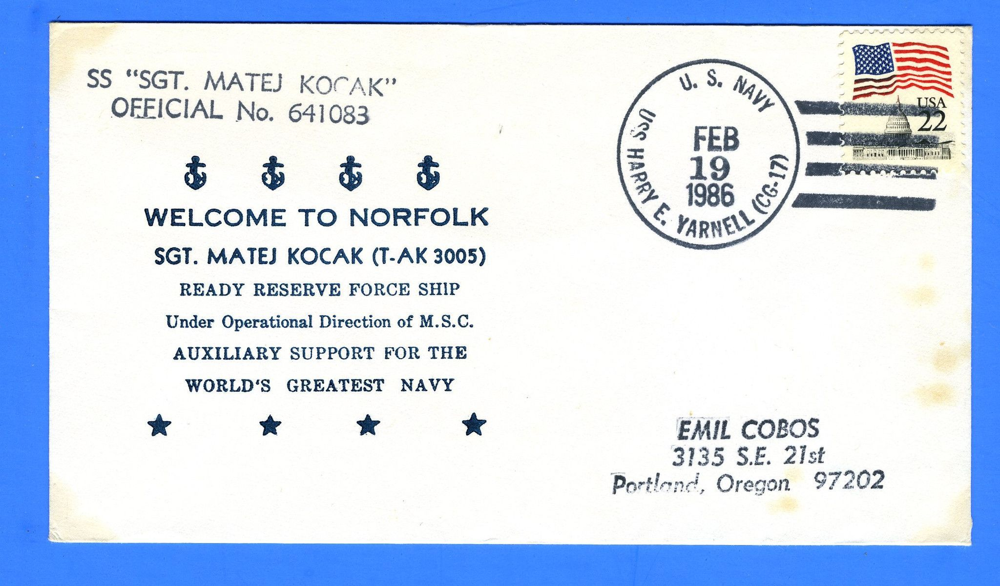 USNS Sgt Matej Kocak T-AK-3005 February 19, 1986 - Canceled USS Harry E. Yarnell CG-17 - Cachet by Tazewell G. Nicholson
