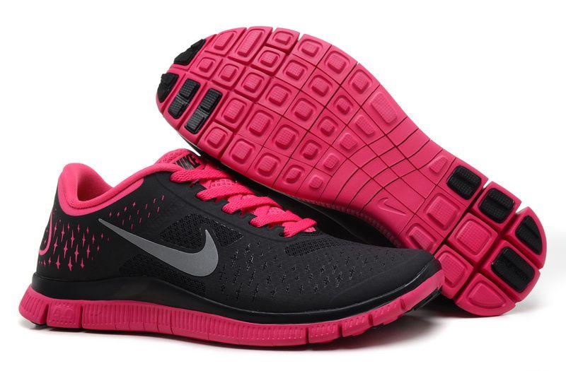 official photos b6c81 8b52d Nike Free 4.0 V2 Black Pink Silver Women's Running Shoes ...