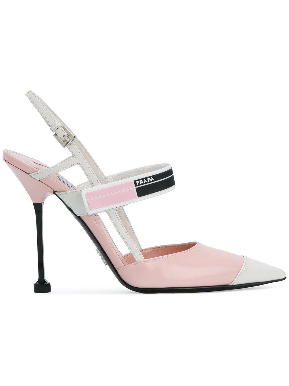 5d3d6e543fbb9 Kitten Heels · Prada zapatos de tacón con tira en el talón Slingback Pump,  Calf Leather, Leather