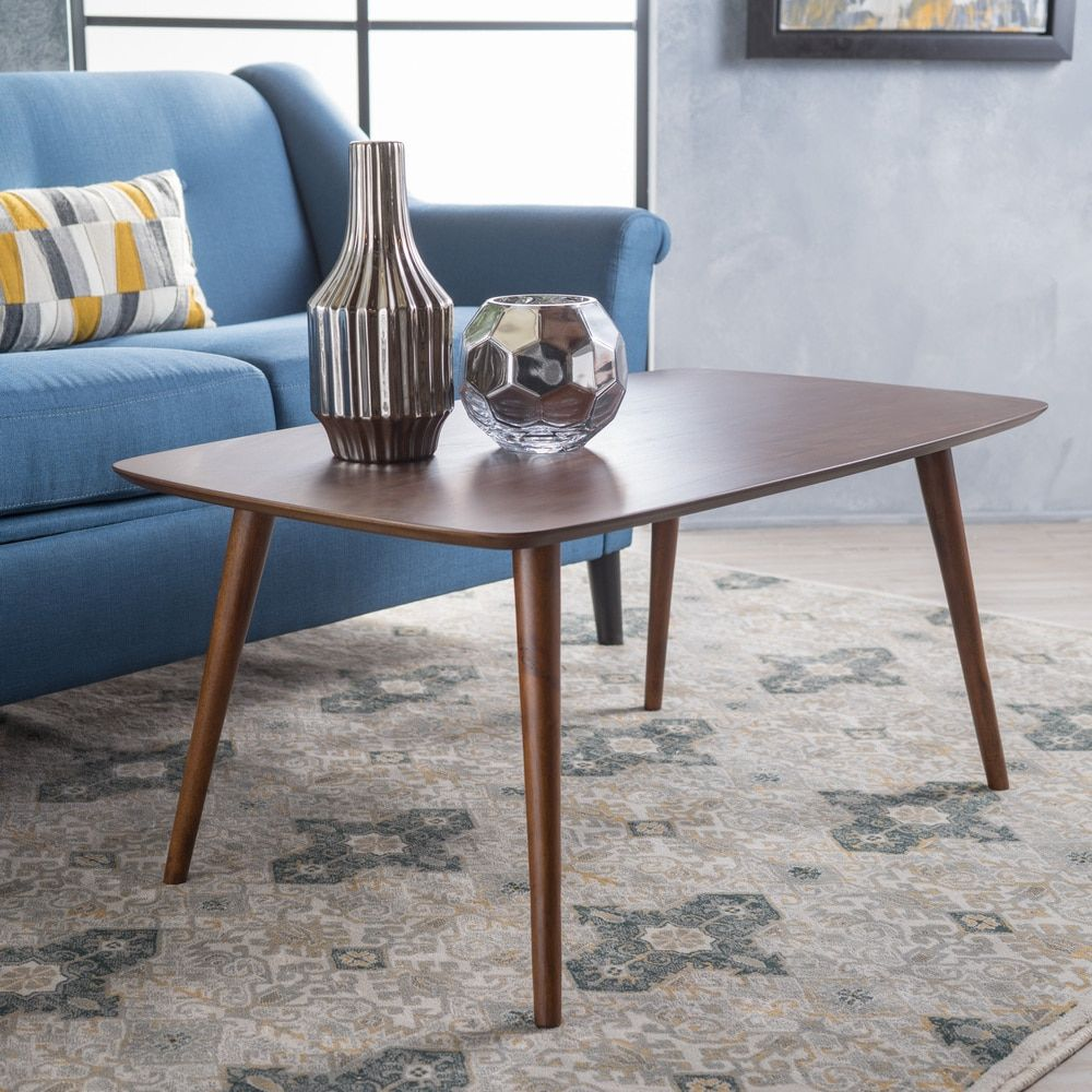 Cilla midcentury wood rectangle coffee table by christopher knight