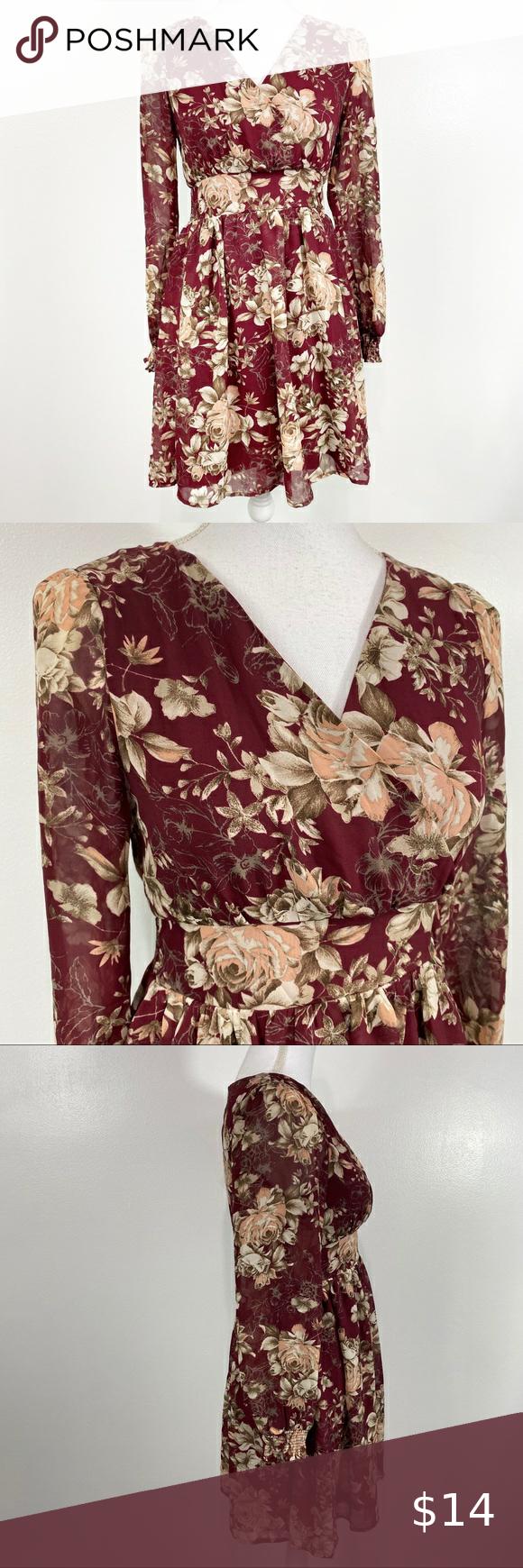 Soieblu Floral Print Long Sleeve Dress Small Soieblu Maroon Purple Red Pink Green Tan Long Sleeve Print Dress Long Sleeve Floral Print Dress Long Sleeve Dress [ 1740 x 580 Pixel ]