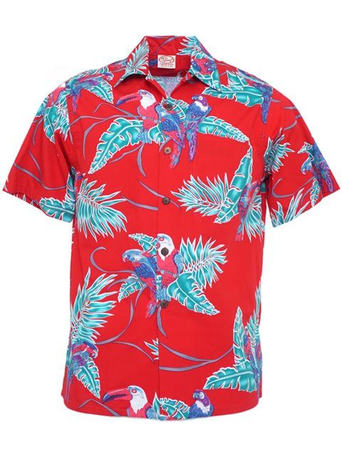 ff41fdbe8 Vintage Tropical Birds Red Cotton Men's Hawaiian Shirt [40% OFF] in ...
