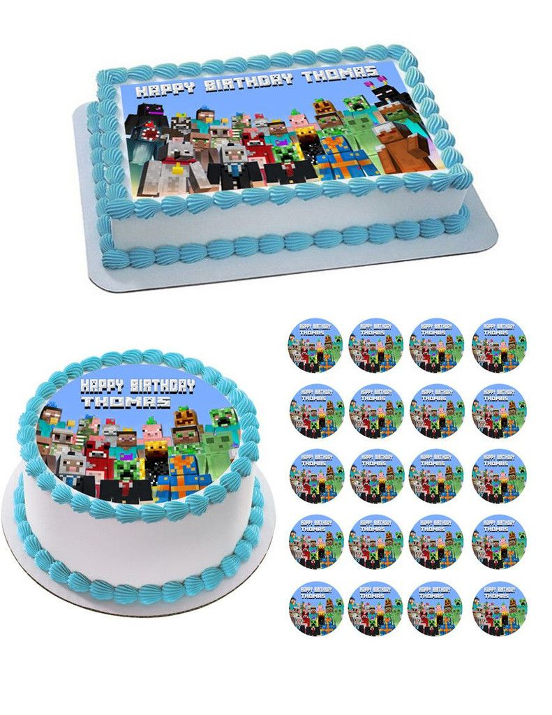 MINECRAFT Characters 5 Edible Birthday Cake Topper OR Cupcake Topper