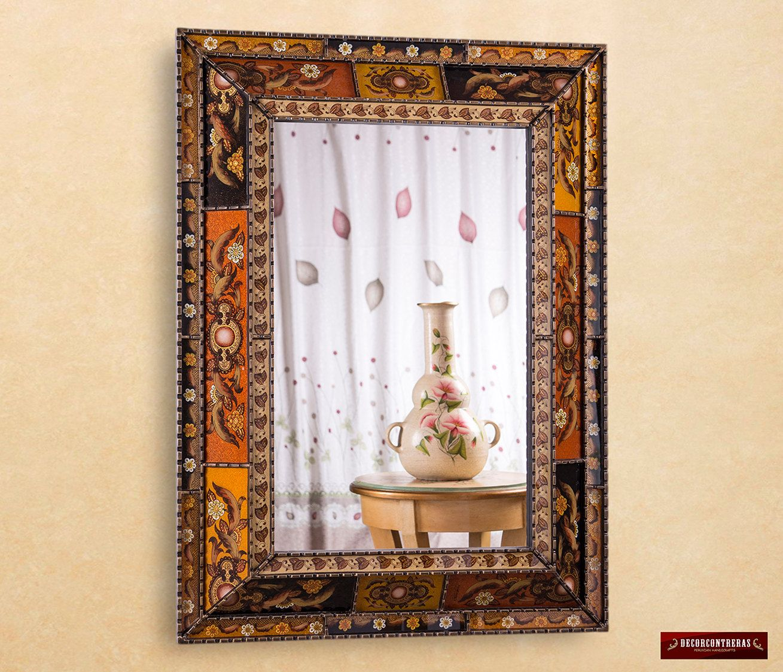 Round Sunburst Mirror  Wall Mirror Cuzco Style Carved - Large decorative wall mirror