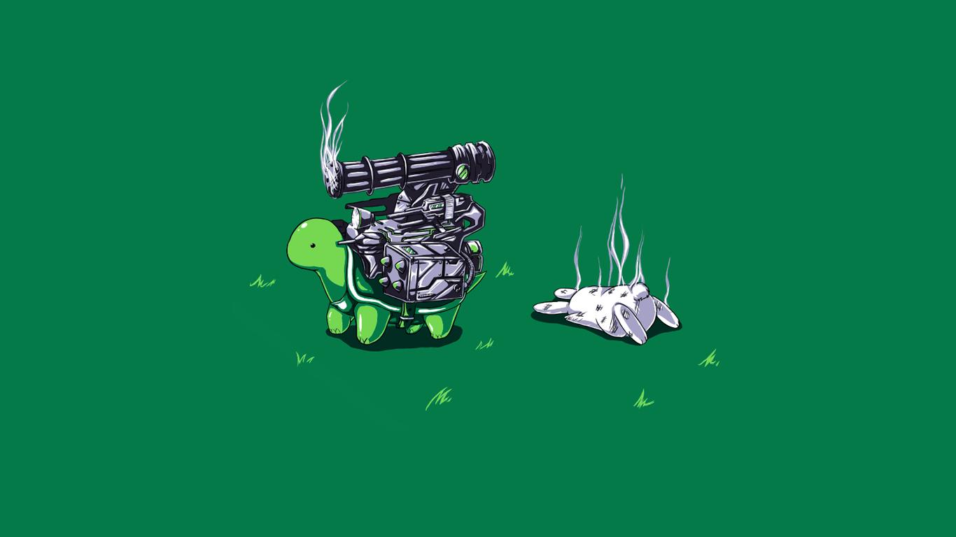 Humor Green Rabbits Artwork Simple Background Turtle