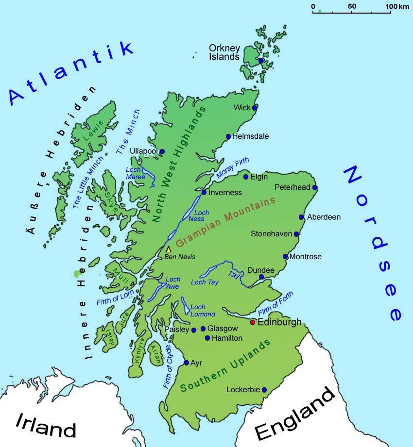 Landkarte Schottland Mit Bildern Schottland Karte Schottland